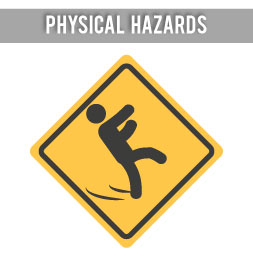 physical hazards Noise control, vibration hazards, violence in the workplace, heat stress, etc slips, trips and falls, noise control, vibration hazards, violence in the workplace, heat stress, etc.
